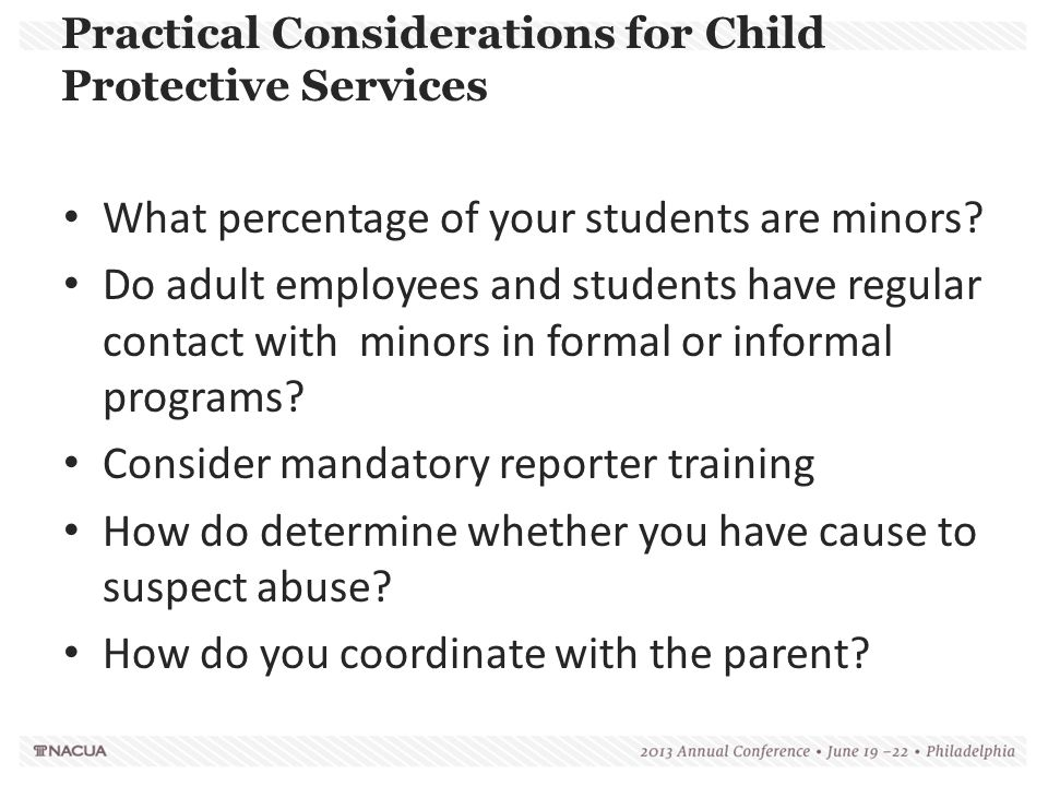 Practical Considerations for Child Protective Services