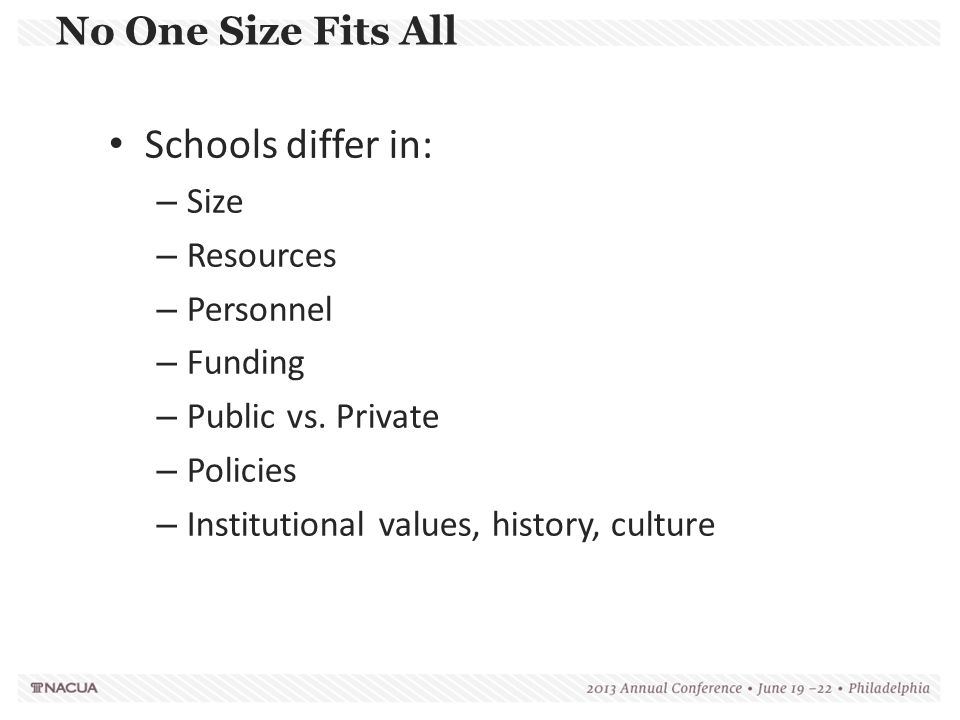 Schools differ in: No One Size Fits All Size Resources Personnel