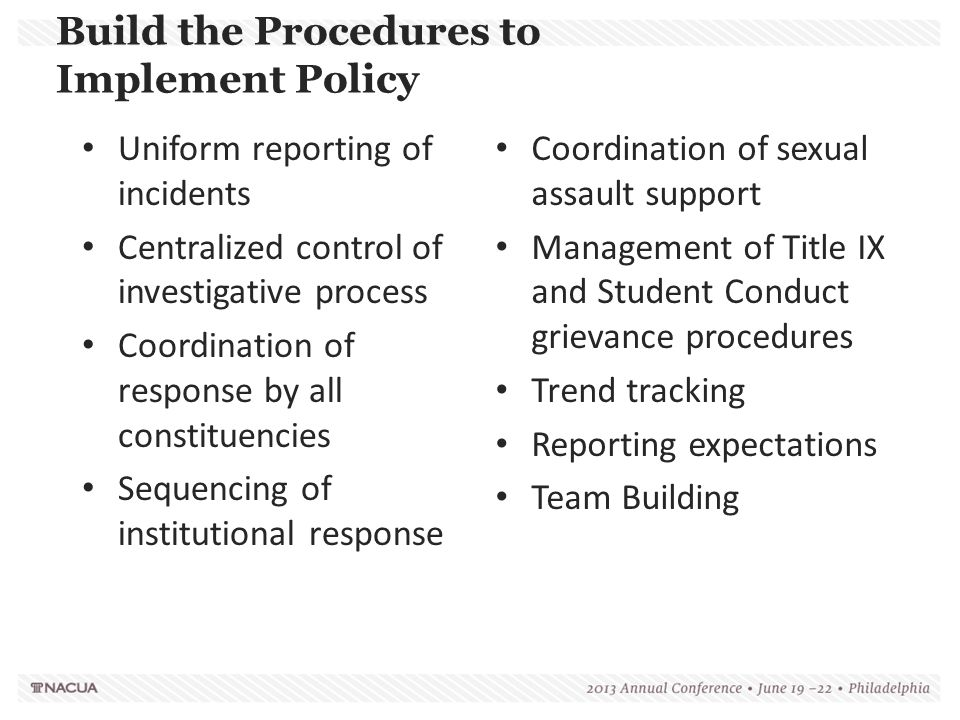 Build the Procedures to Implement Policy