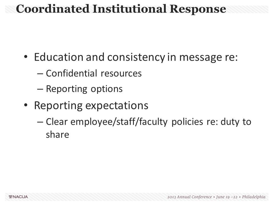 Coordinated Institutional Response