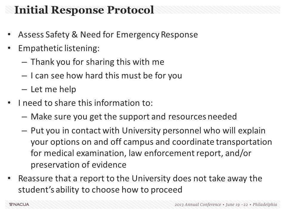 Initial Response Protocol