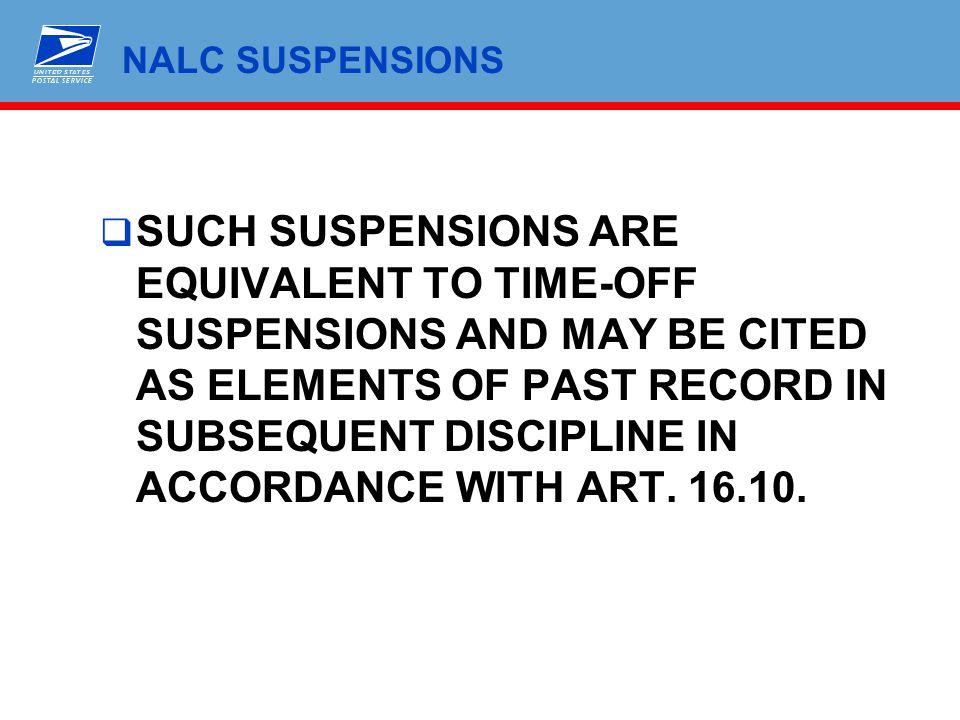 NALC SUSPENSIONS