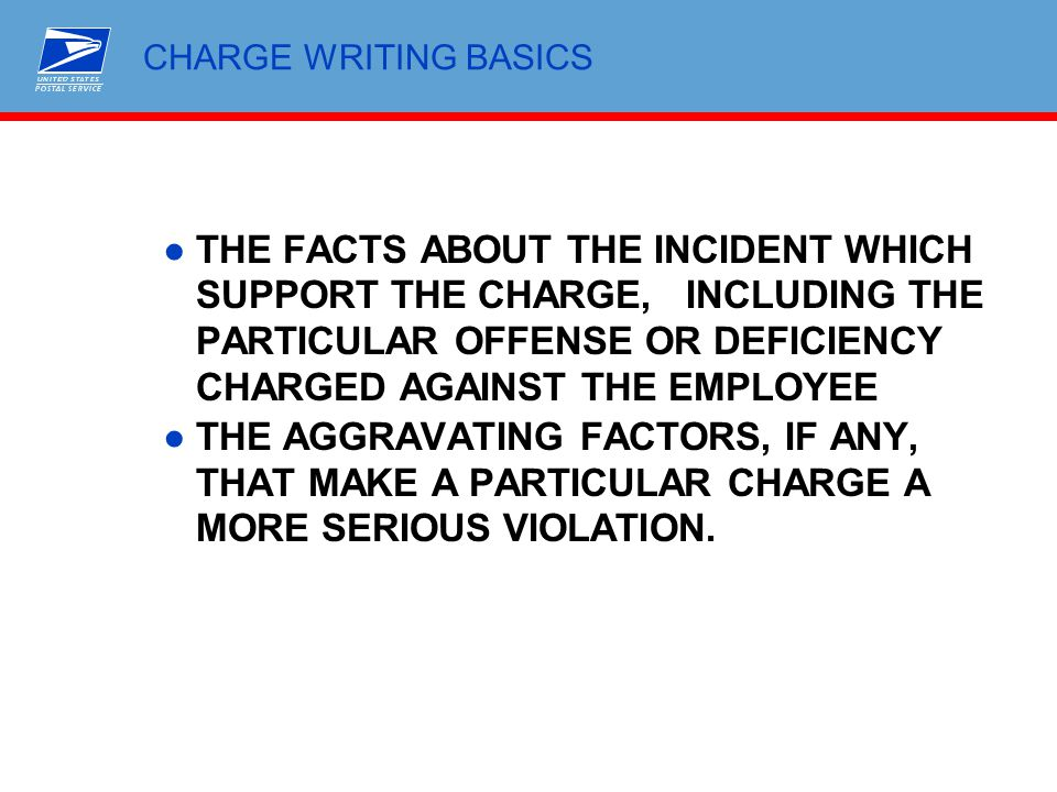 CHARGE WRITING BASICS