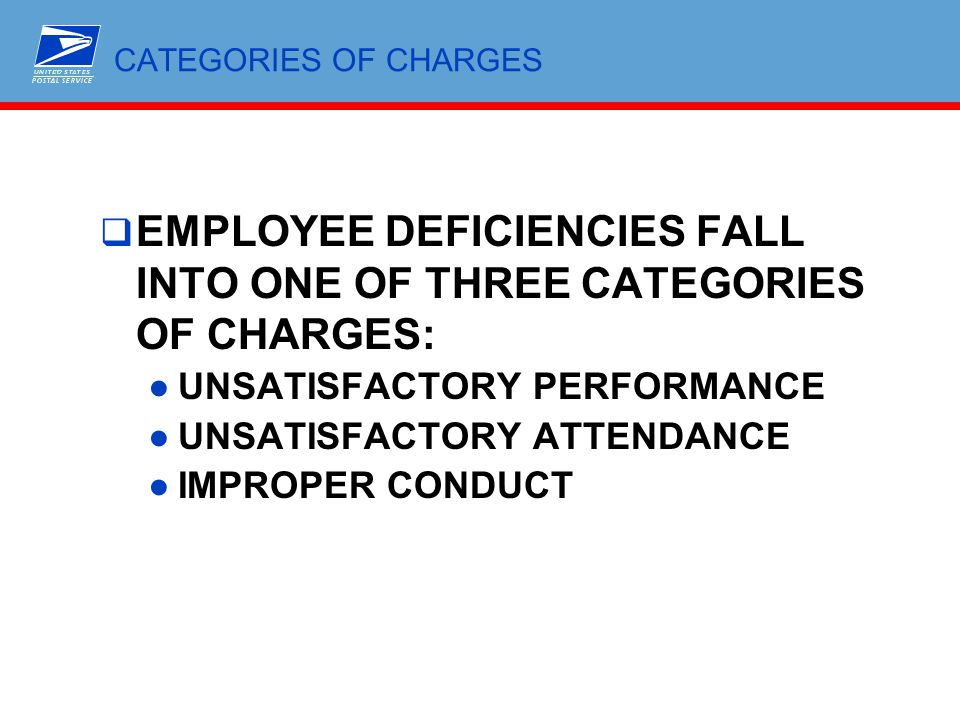 EMPLOYEE DEFICIENCIES FALL INTO ONE OF THREE CATEGORIES OF CHARGES: