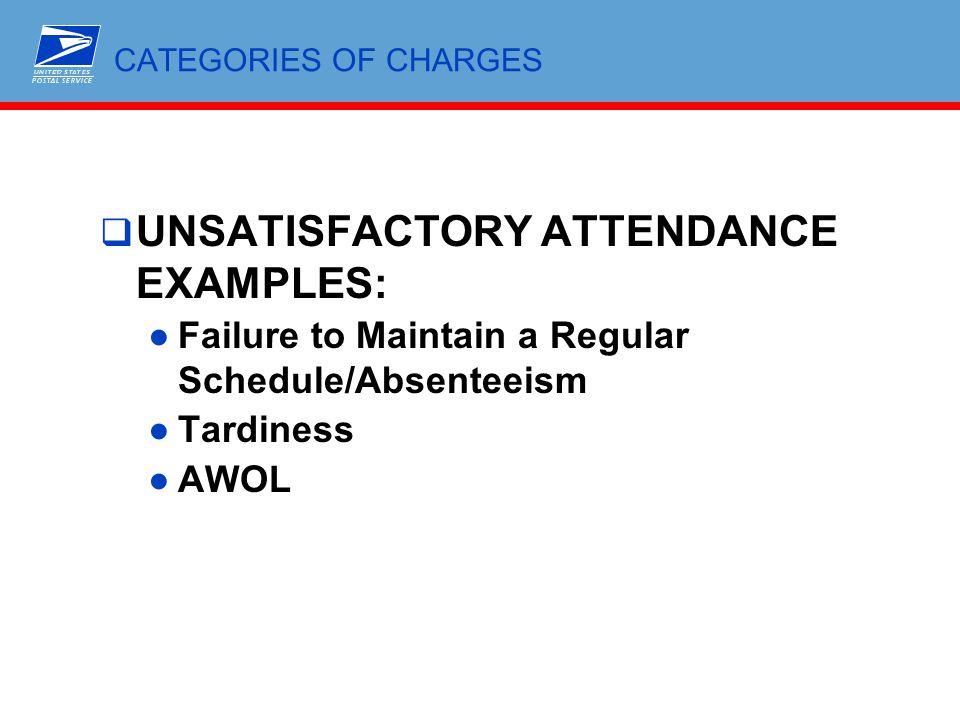 UNSATISFACTORY ATTENDANCE EXAMPLES: