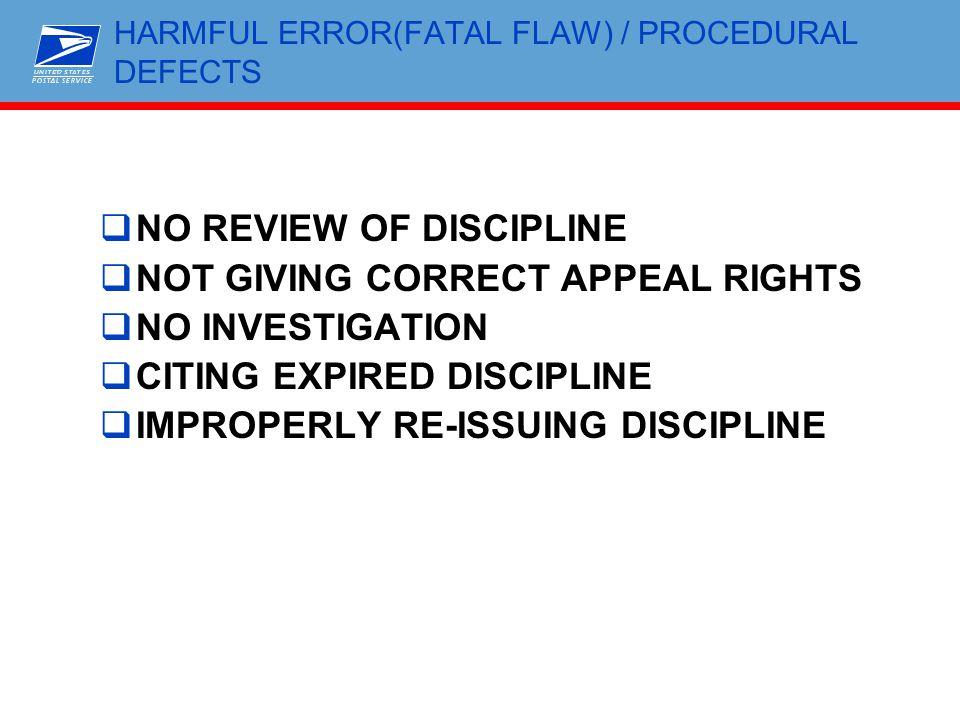 HARMFUL ERROR(FATAL FLAW) / PROCEDURAL DEFECTS
