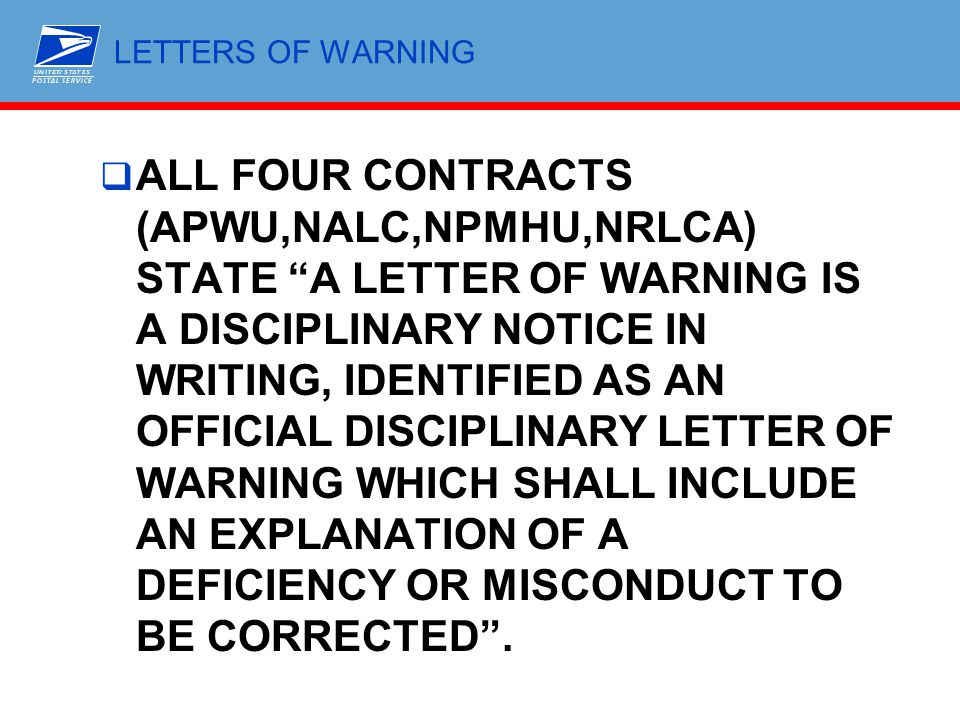 LETTERS OF WARNING