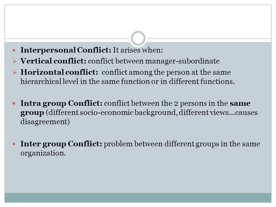 Interpersonal Conflict: It arises when: