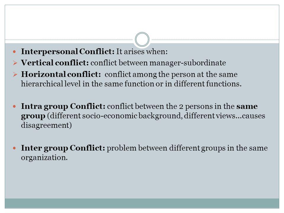 Interpersonal Conflict: It arises when: