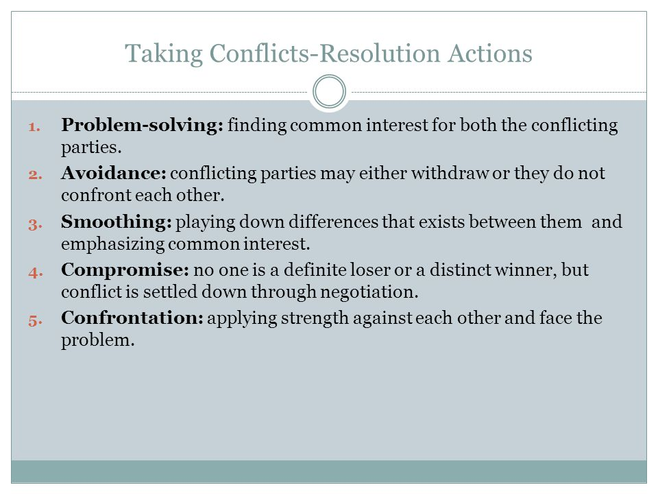 Taking Conflicts-Resolution Actions