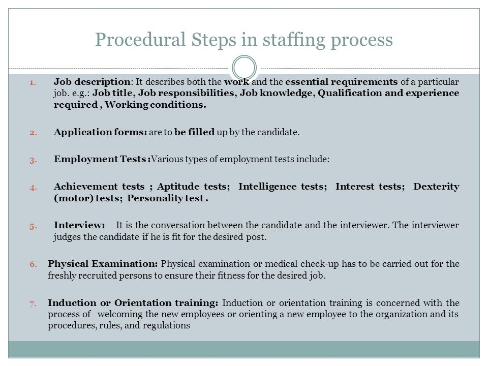 Procedural Steps in staffing process