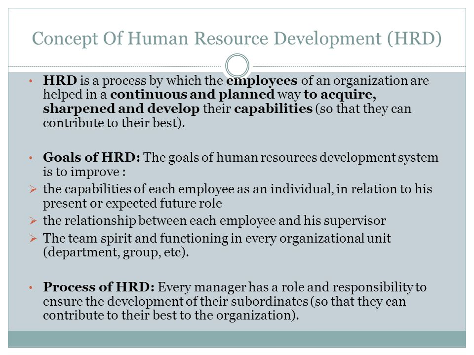 Concept Of Human Resource Development (HRD)