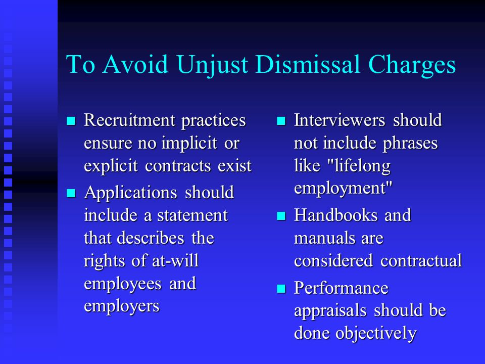 To Avoid Unjust Dismissal Charges