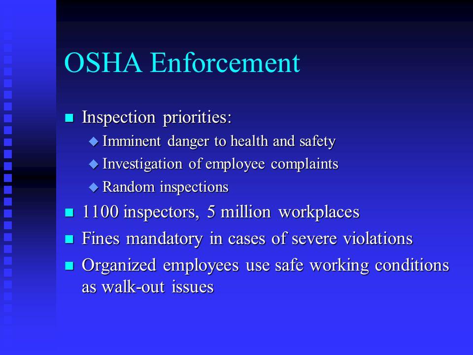 OSHA Enforcement Inspection priorities: