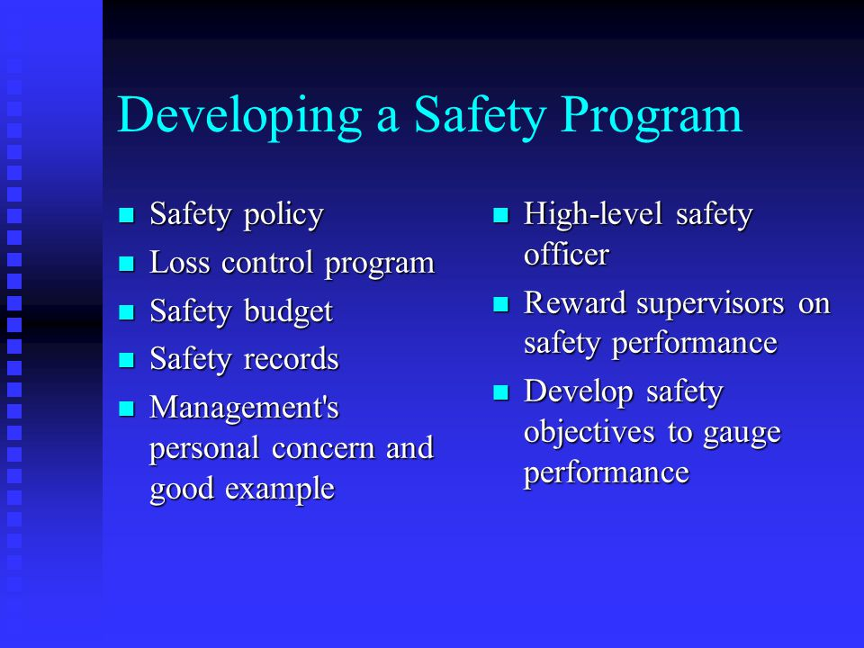 Developing a Safety Program
