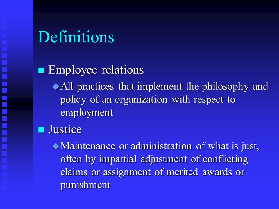Definitions Employee relations Justice