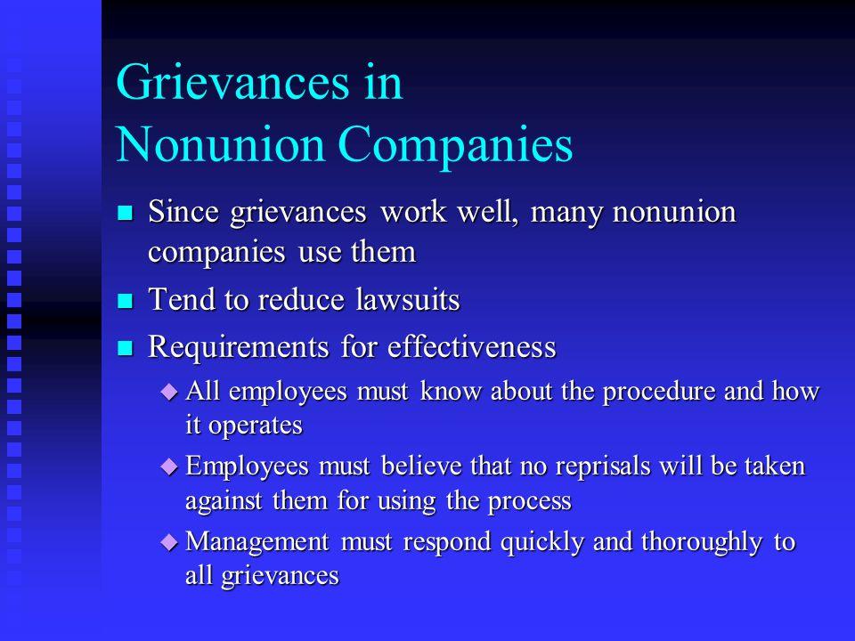 Grievances in Nonunion Companies