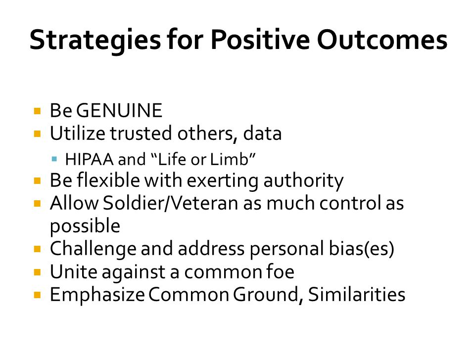 Strategies for Positive Outcomes