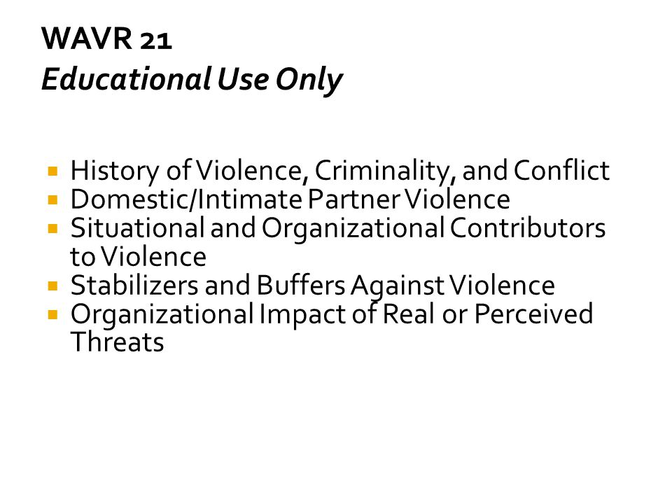 WAVR 21 Educational Use Only
