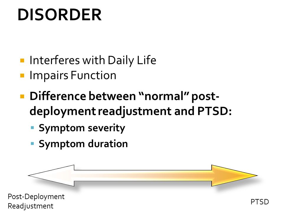 DISORDER Interferes with Daily Life Impairs Function