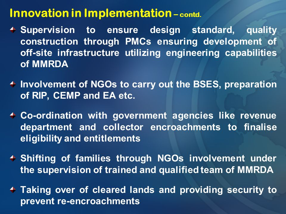 Innovation in Implementation – contd.