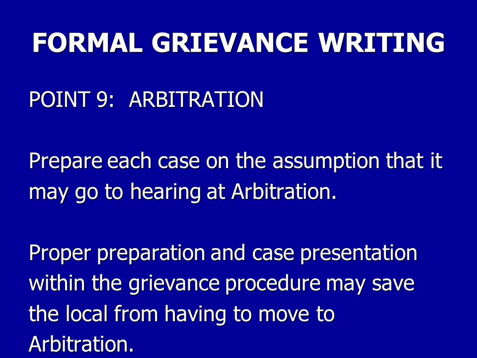FORMAL GRIEVANCE WRITING