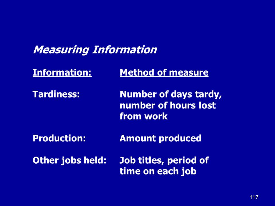 Measuring Information Information:. Method of measure Tardiness: