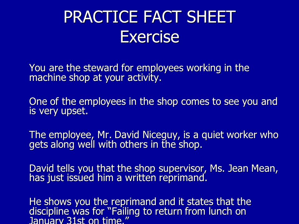 PRACTICE FACT SHEET Exercise