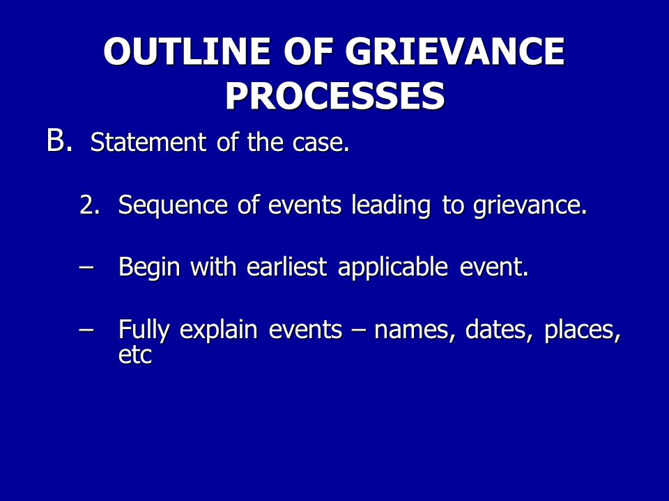 OUTLINE OF GRIEVANCE PROCESSES