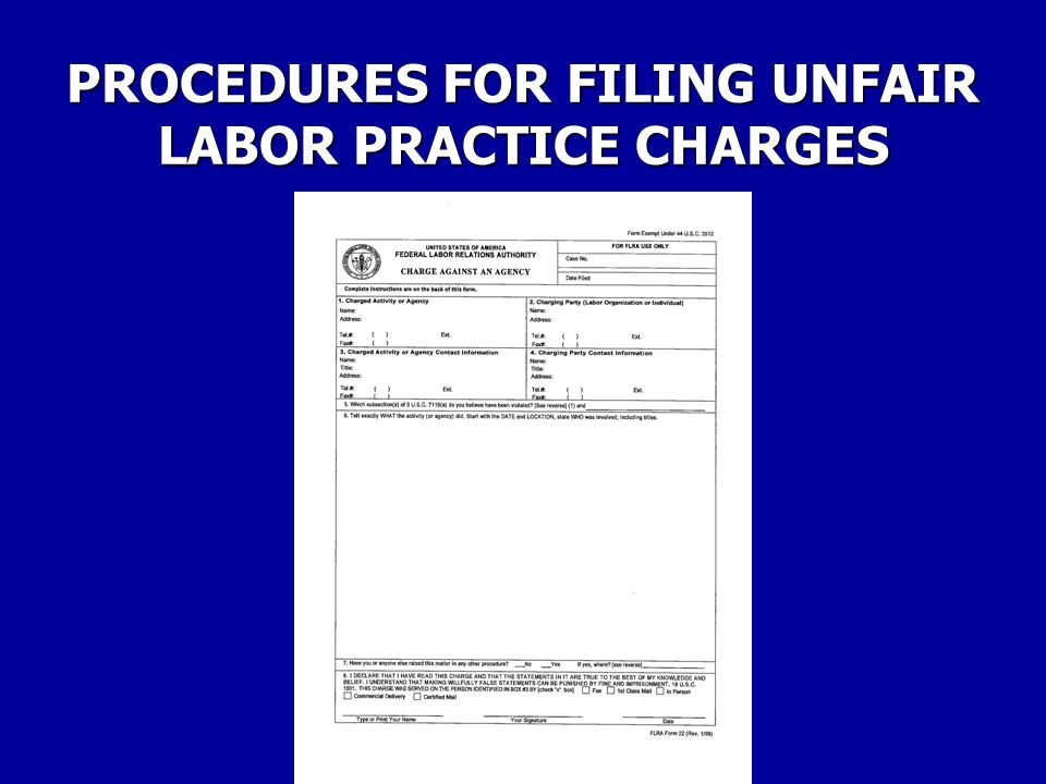 PROCEDURES FOR FILING UNFAIR LABOR PRACTICE CHARGES