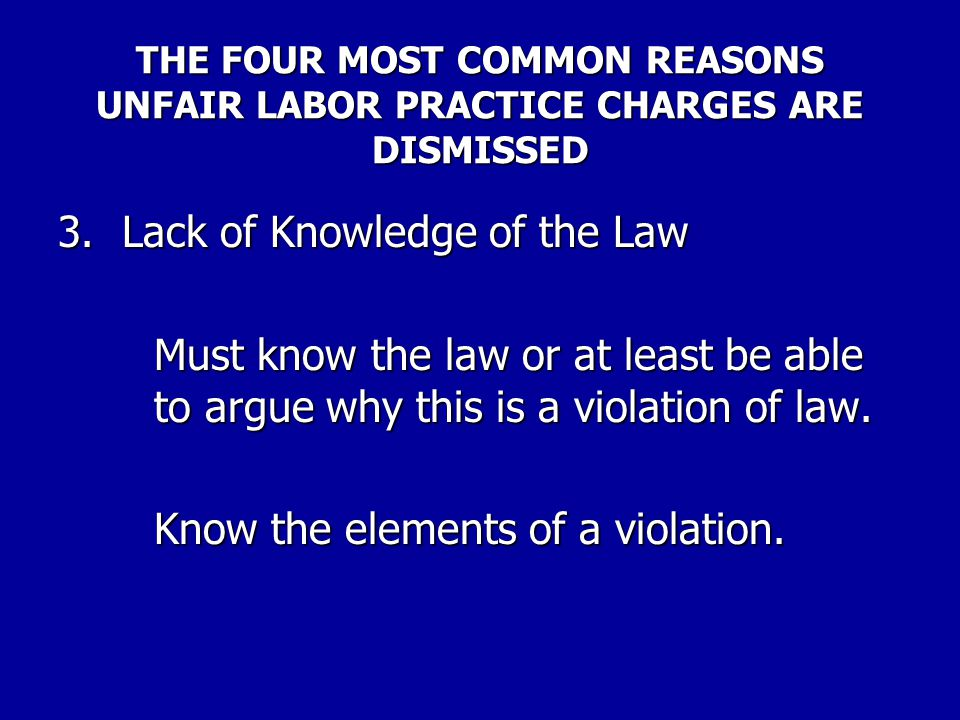3. Lack of Knowledge of the Law
