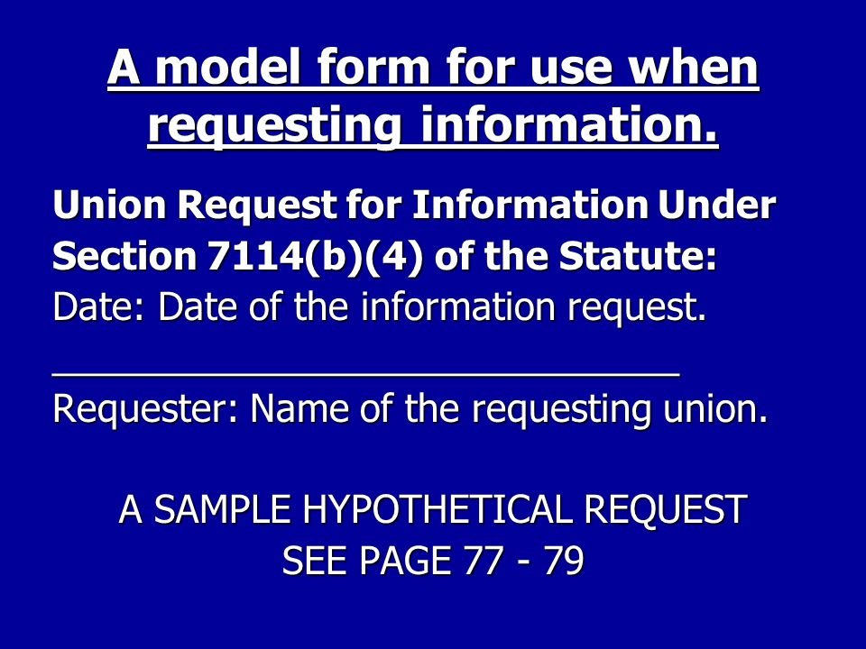 A model form for use when requesting information.