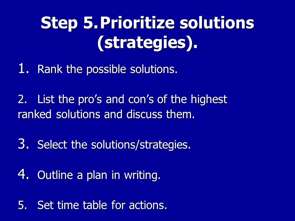 Step 5. Prioritize solutions (strategies).