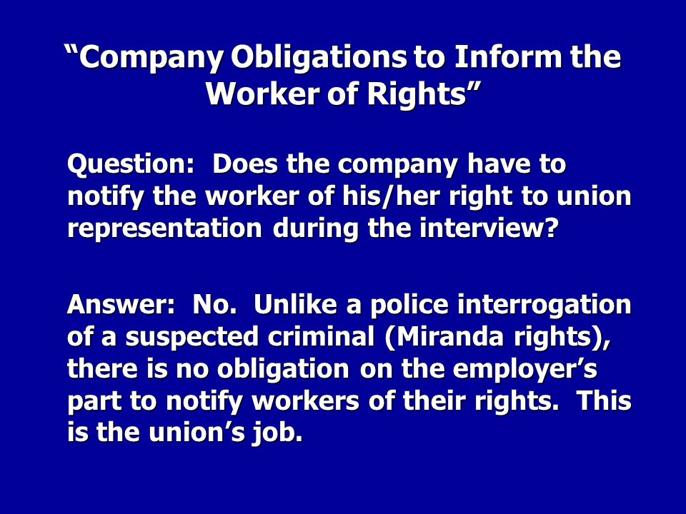 Company Obligations to Inform the Worker of Rights