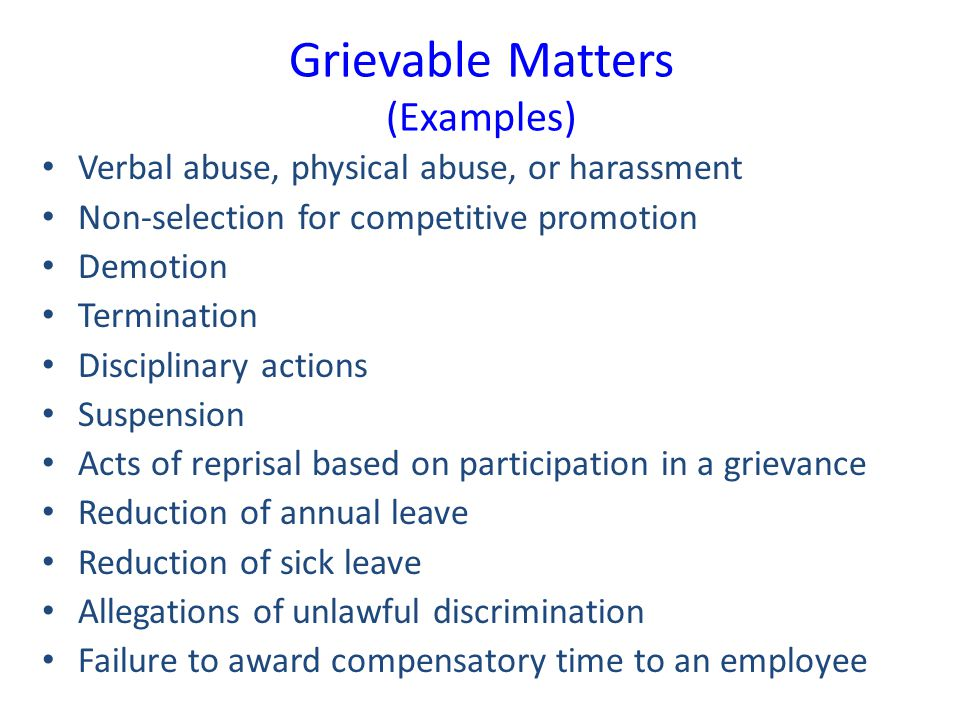 Grievable Matters (Examples)