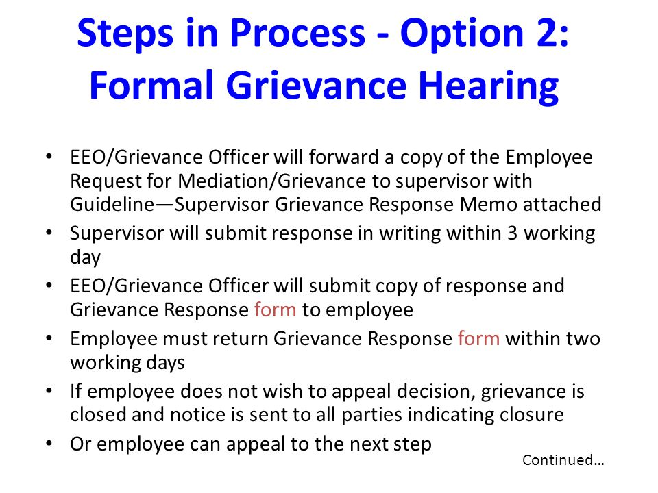 Steps in Process - Option 2: Formal Grievance Hearing