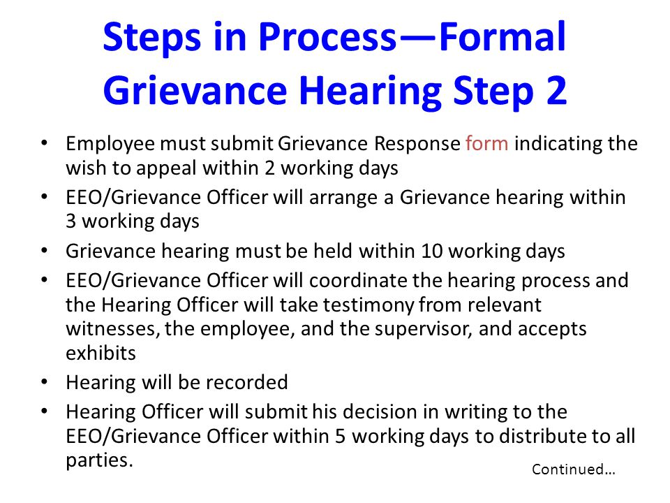 Steps in Process—Formal Grievance Hearing Step 2