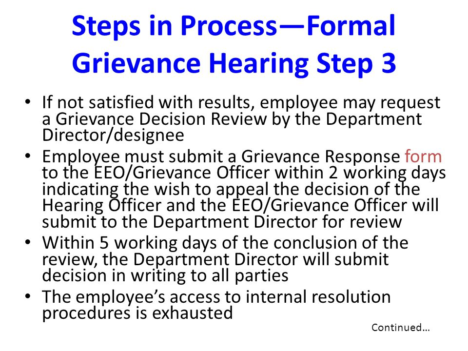 Steps in Process—Formal Grievance Hearing Step 3