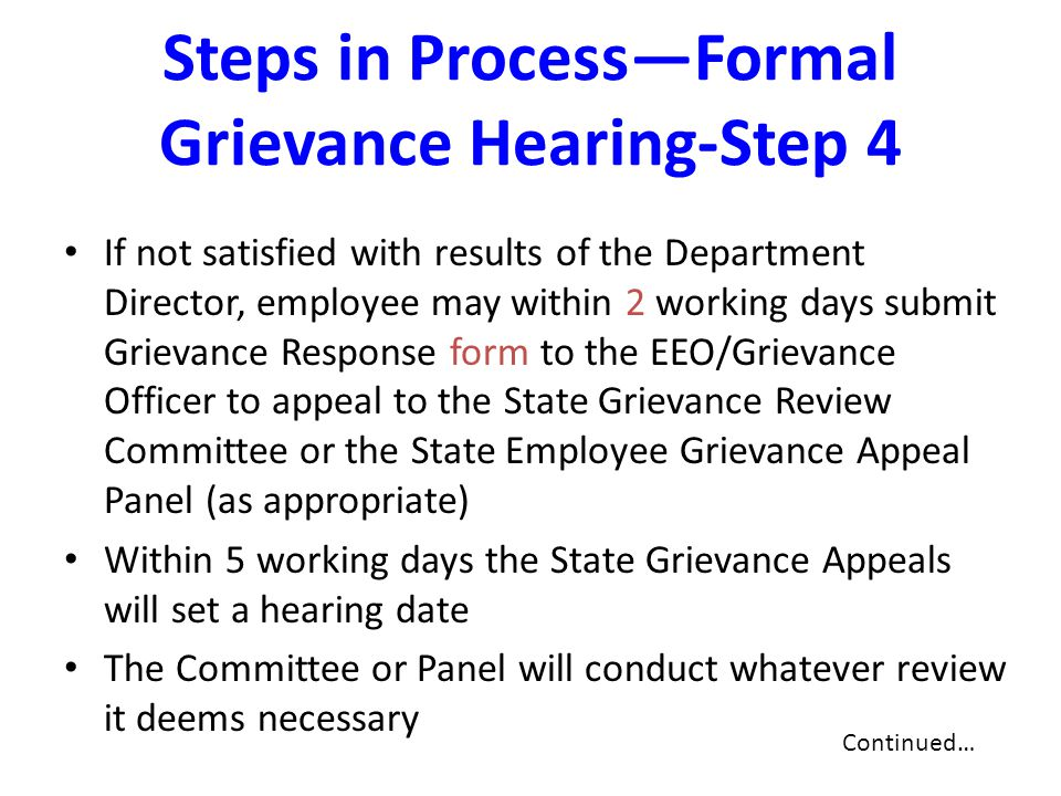 Steps in Process—Formal Grievance Hearing-Step 4