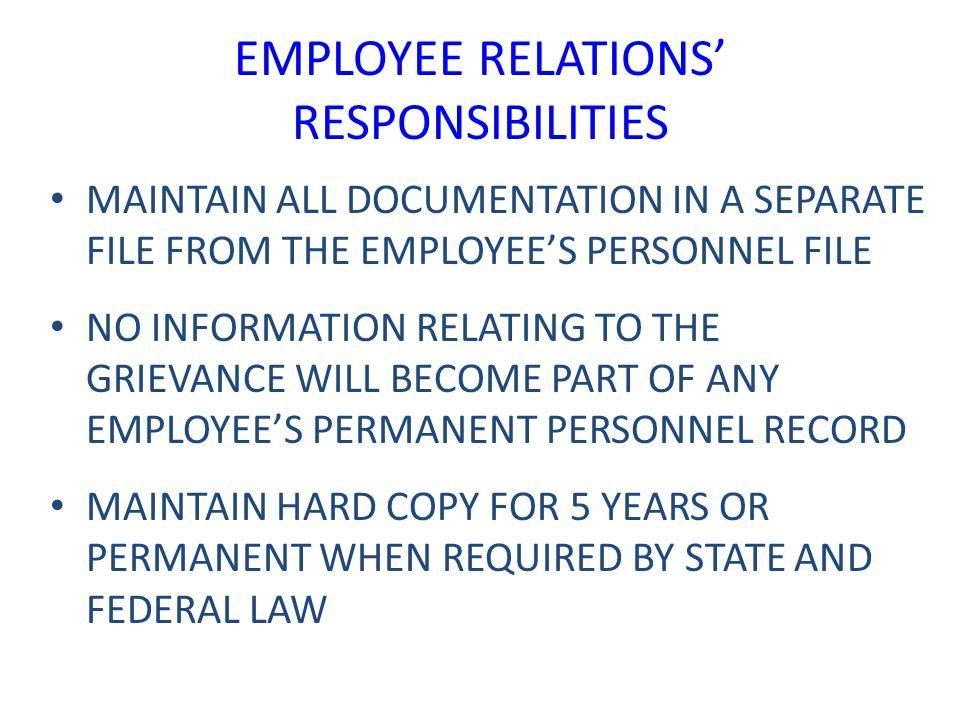 EMPLOYEE RELATIONS' RESPONSIBILITIES