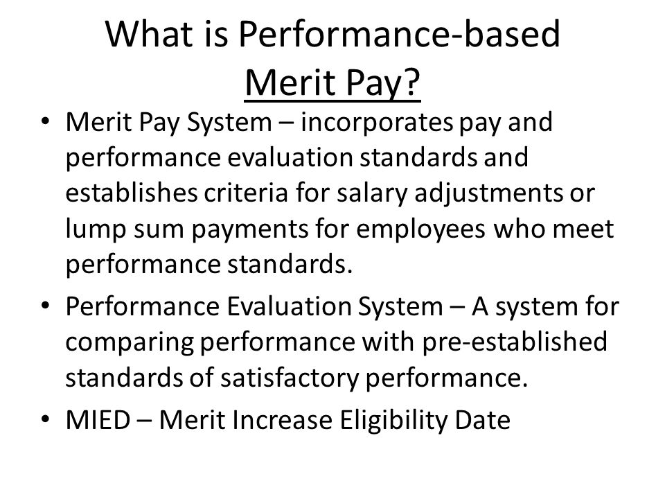 What is Performance-based Merit Pay