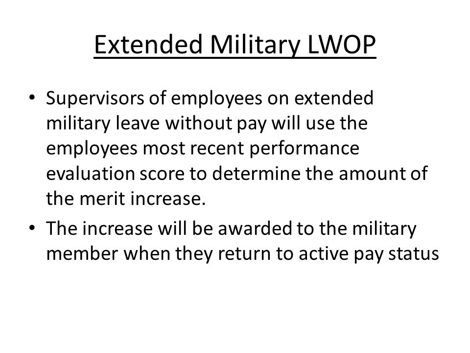 Extended Military LWOP