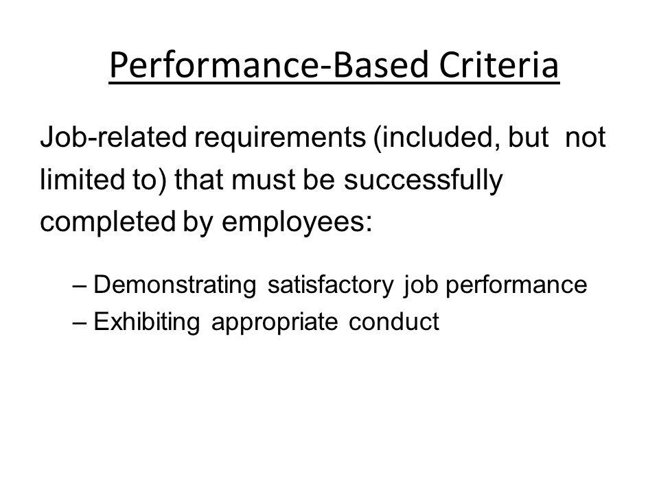 Performance-Based Criteria