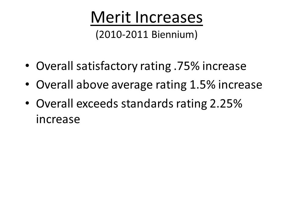 Merit Increases (2010-2011 Biennium)