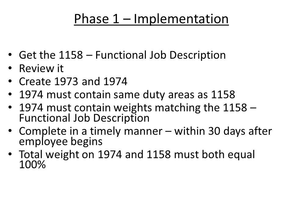 Phase 1 – Implementation