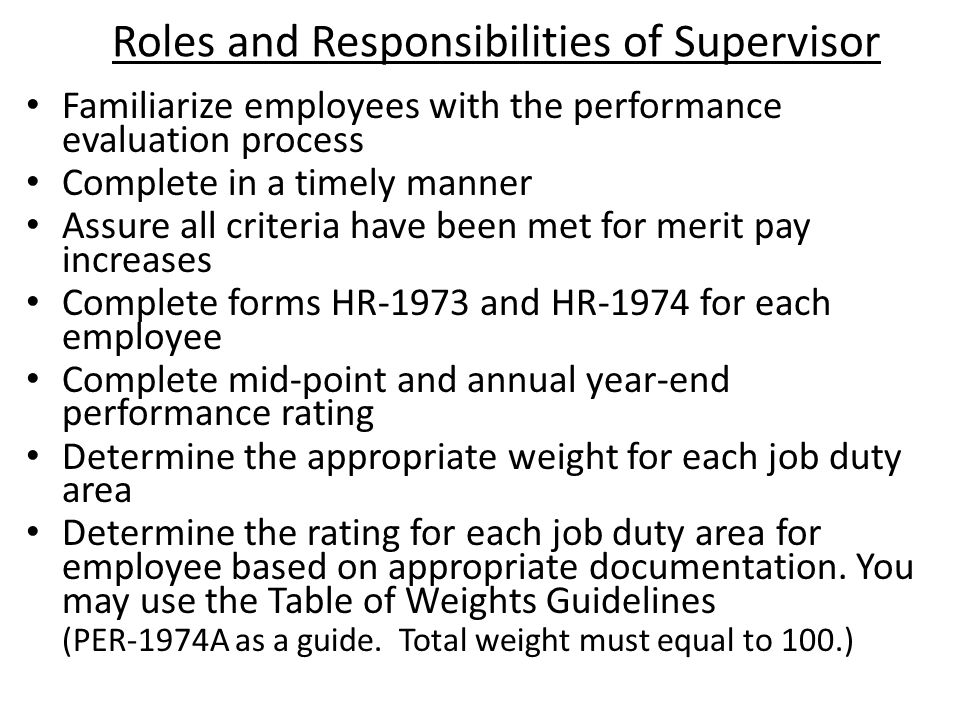 Roles and Responsibilities of Supervisor