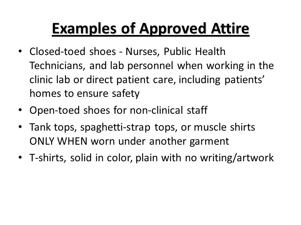 Examples of Approved Attire
