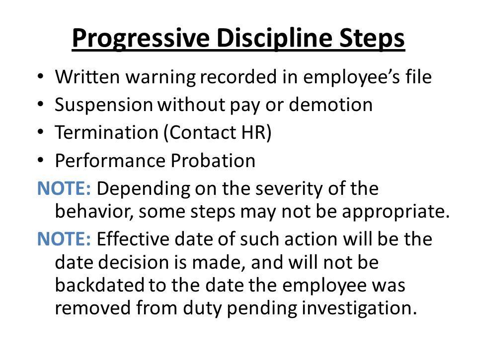 Progressive Discipline Steps