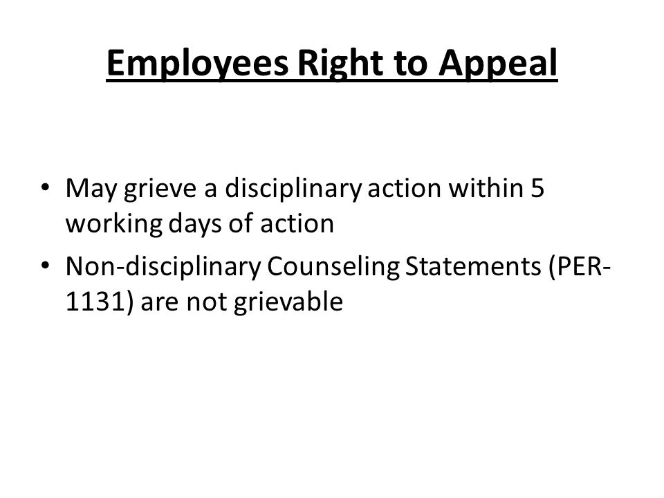 Employees Right to Appeal