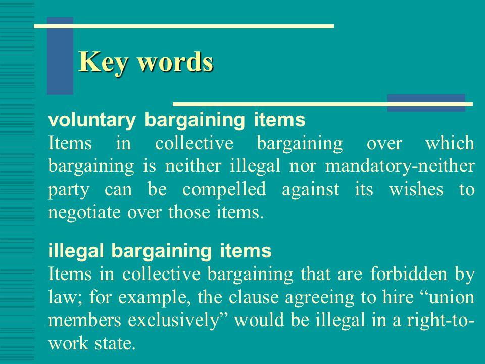 Key words voluntary bargaining items